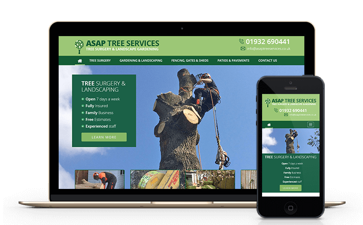 a screenshot of our latest tree surgeon client where we delivered a new website and full content management system