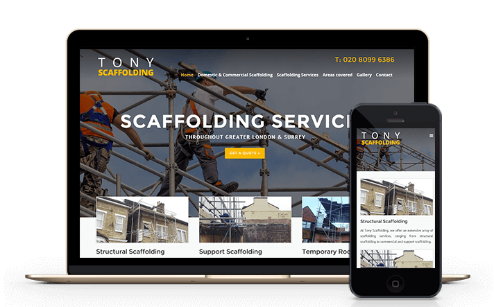 This is a screenshot of a new mobile friendly website we designed for a local scaffolding company