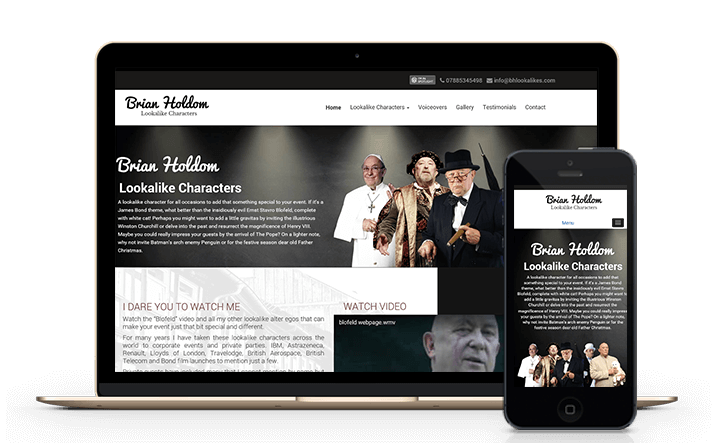 view our customers lookalike and character website we built powered by WordPress content management system