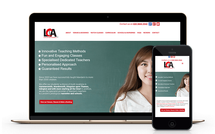 This is a screenshot of a website we developed for a customer specialising in Mandarin language courses around London